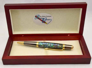 Abalone Green Heart Sahara Ballpoint Twist Pen