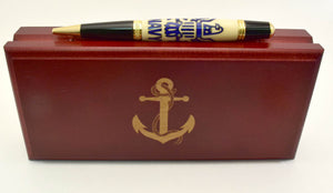 Navy Inlay Ballpoint Twist Pen