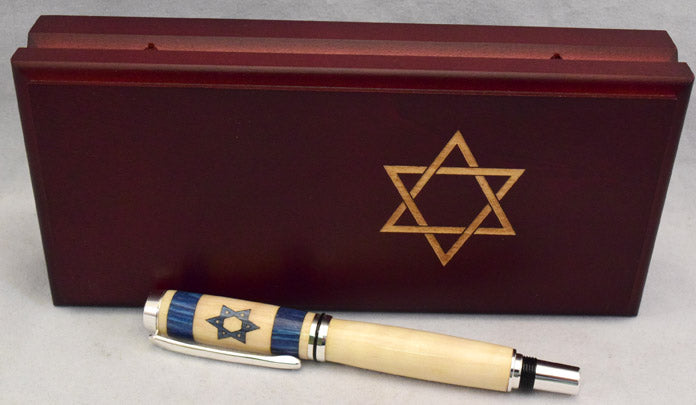 Inlay Israel Flag Rollerball or Fountain Pen