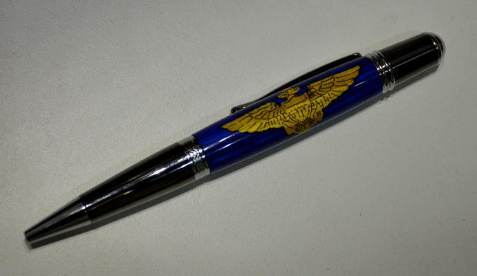 Navy Flyer Inlay Ballpoint Twist Pen