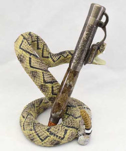 Nickel Lever Action Click Pen with Ceramic Snake Stand