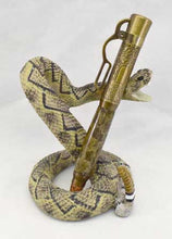Load image into Gallery viewer, Brass Lever Action Click Pen with Ceramic Snake Stand