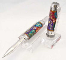 Load image into Gallery viewer, Watch Parts Stained Glass Black Titanium Arcadia Rollerball or Fountain Pen
