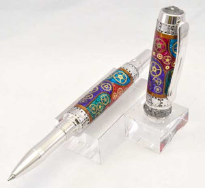 Watch Parts Stained Glass Black Titanium Arcadia Rollerball or Fountain Pen