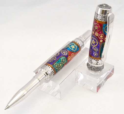Watch Parts Stained Glass Black Titanium Arcadia Rollerball or Fountain Pen - W4