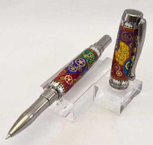 Load image into Gallery viewer, Watch Parts Stained Glass Black Titanium Venetian Rollerball or Fountain Pen - W7