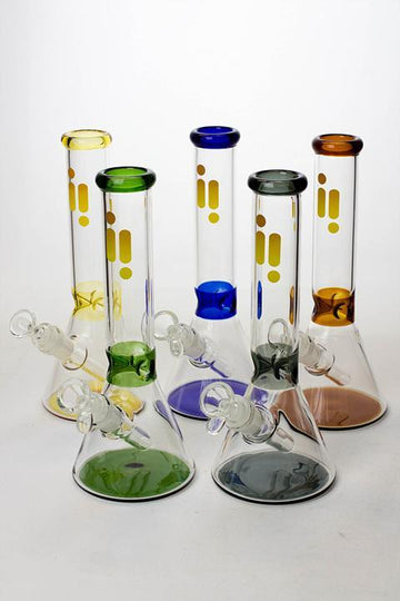"10"" Infyniti color accented beaker glass water bong"