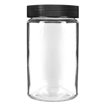 10oz Glass Jars with Black Caps - 14 Grams - 72 Count