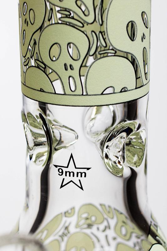 "13.5"" Glow in the dark 9 mm glass water bong - 19084 Flower Power Packages"