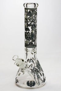 "13.5"" Glow in the dark 9 mm glass water bong - 19084 Flower Power Packages F"