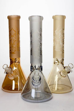 "14"" Metallic 7 mm sandblasted glass beaker water bong"