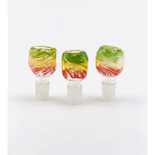 18mm Square Body Rasta Color Bowls Flower Power Packages