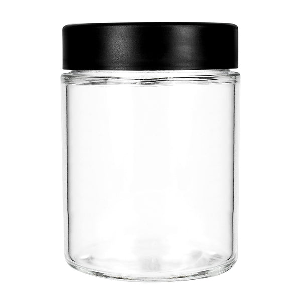 18oz Child Resistant Jars with Black Cap - 28 Grams 48 Count at Flower Power Packages