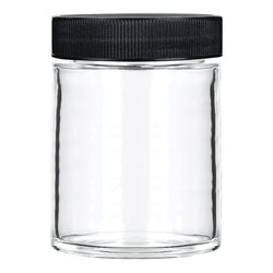 18oz Glass Jars with Black Caps - 28 Grams - 48 Count