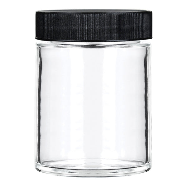 18oz Glass Jars with Black Caps - 28 Grams - 48 Count at Flower Power Packages