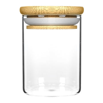 18oz Wood Lid Suction Glass Jars - 28 Grams 40 Count