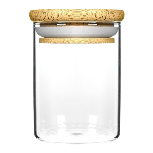 18oz Wood Lid Suction Glass Jars - 28 Grams 40 Count at Flower Power Packages