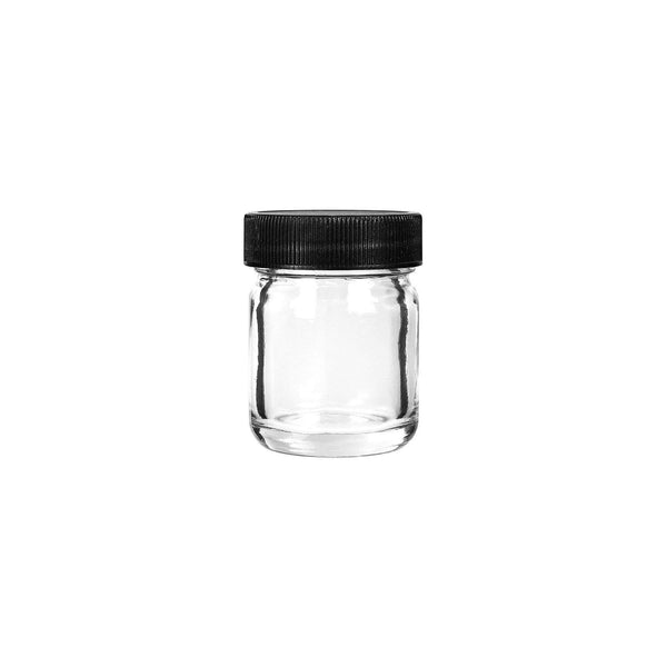 1oz Glass Jars with Black Caps - 1 Gram - 252 Count at Flower Power Packages