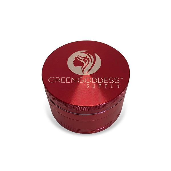 "2.5"" 4-Piece Aluminum Grinder - Red at Flower Power Packages"