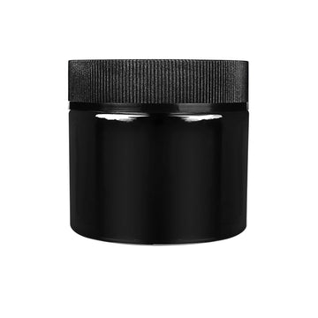 2oz Child Resistant Black Glass Jars with Cap - 2.5 Grams - 200 Count