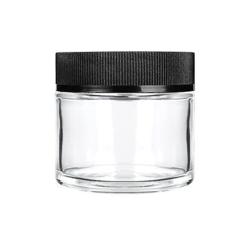 2oz Child Resistant Glass Jars with Black Caps - 3.5 Grams 200 Count