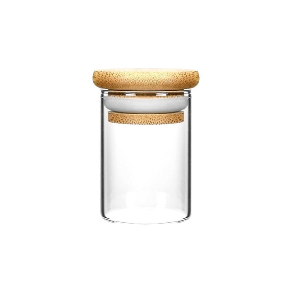 2oz Wood Lid Suction Glass Jars - 3.5 Grams 200 Count at Flower Power Packages