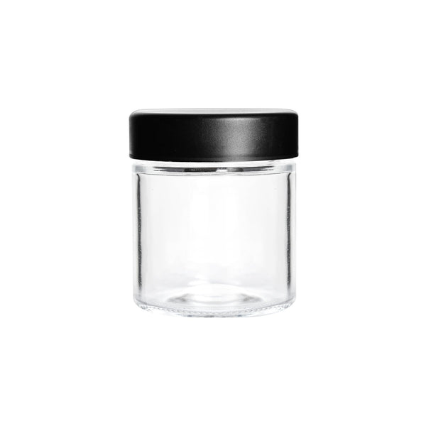 3oz Child Resistant Glass jars with Black Caps - 5 Grams - 150 Count Flower Power Packages