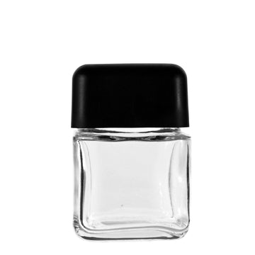3oz Square Clear Glass Jars With Black Lid Child Resistant (80 Count)