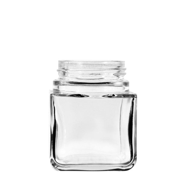3oz Square Clear Glass Jars With Black Lid Child Resistant (80 Count) at Flower Power Packages