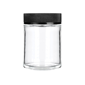 4oz Child Resistant Glass Jars with Black Caps - 7 Grams 100 Count