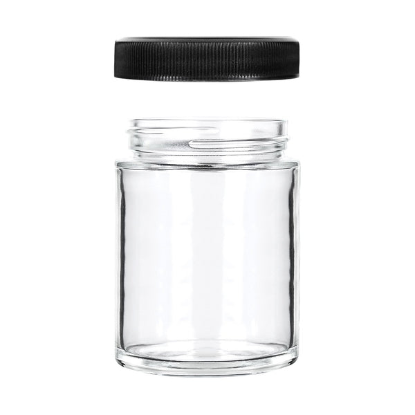 4oz Glass Jars with Black Caps - 7 Grams - 120 Count at Flower Power Packages