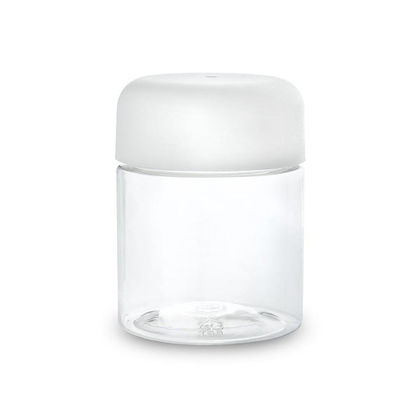 4oz Plastic PET Jar - Clear With (Black or White) Child Resistant Lid (100 Count) Flower Power Packages White Cap
