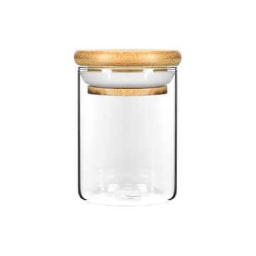 4oz Wood Lid Suction Glass Jars - 7 Grams 120 Count