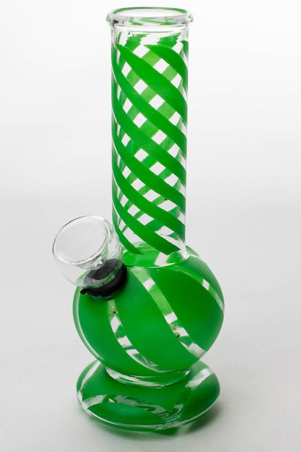 "6"" hollow base glass water bong Flower Power Packages Green-4063"