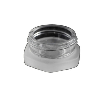 7mL Hex Glass Container With Child Resistant - Clear or Frosted with Black Lid (250 Count)