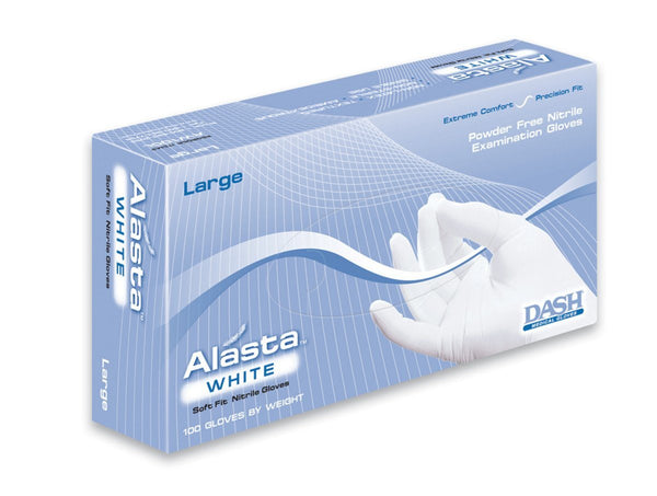 Alasta White Nitrile Exam Gloves (Case) at Flower Power Packages