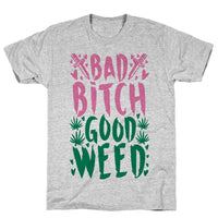 Bad Bitch Good Weed Athletic Gray Unisex Cotton Tee by LookHUMAN Flower Power Packages Gray Small