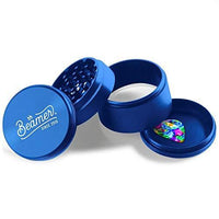 "Beamer Aircraft Grade With Extended Chamber Aluminum Grinder 2.5"" Tall 63mm (Various Colors) Flower Power Packages Blue"