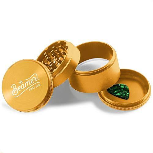 "Beamer Aircraft Grade With Extended Chamber Aluminum Grinder 2.5"" Tall 63mm (Various Colors) Flower Power Packages Gold"