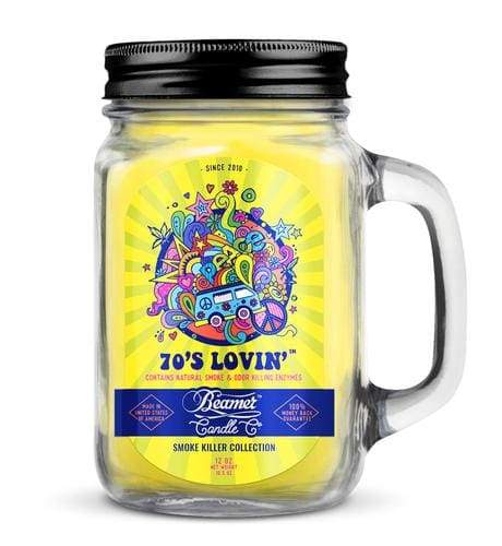 Beamer Candle- Smoke Killer Collection 12oz Mason Jar Flower Power Packages 70's Lovin'