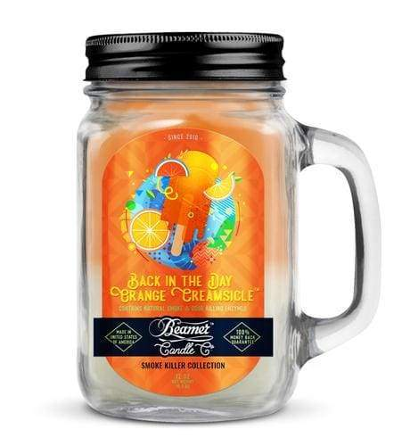 Beamer Candle- Smoke Killer Collection 12oz Mason Jar Flower Power Packages Back In The Day Orange Creamsicle