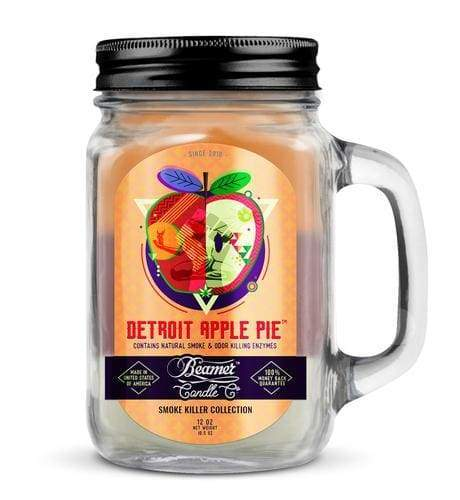 Beamer Candle- Smoke Killer Collection 12oz Mason Jar Flower Power Packages Detroit Apple Pie