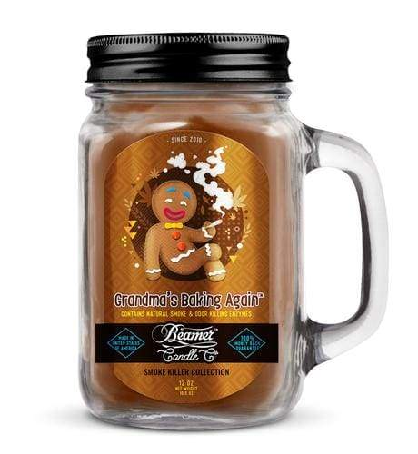 Beamer Candle- Smoke Killer Collection 12oz Mason Jar Flower Power Packages Grandma's Baking Again