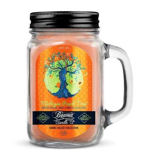Beamer Candle- Smoke Killer Collection 12oz Mason Jar Flower Power Packages Michigan Peach Tree
