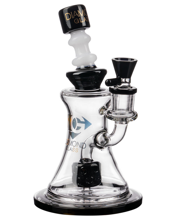Diamond Glass Big Puck Dab Rig in Black  at flower power packages