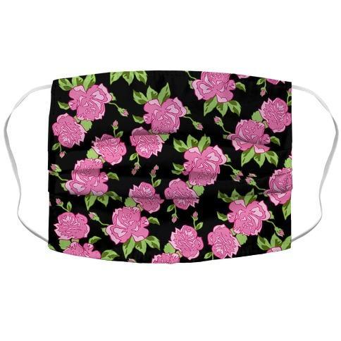 Black and Pink Floral Pattern Face Mask Cover Flower Power Packages