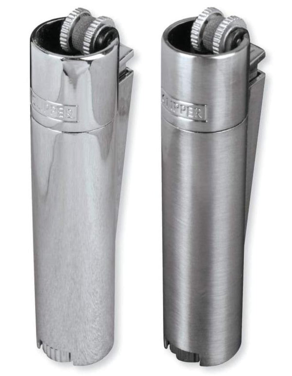 Clipper Full Metal Flint Silver Lighter With Case (12 Count Display) Flower Power Packages