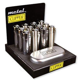Clipper Full Metal Flint Silver Lighter With Case (12 Count Display)