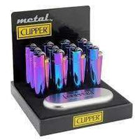 Clipper Full Metal Ice Mix Lighter With Case (12 Count) Flower Power Packages