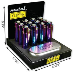 Clipper Full Metal Icy Colors Lighter With Case (12 Count Display)